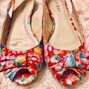 Unique Floral Peep Toe Slip-Ons!